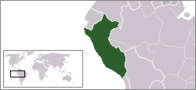 A map showing the location of Peru