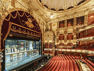 London Coliseum - Interior showing stage, orchestra pit, boxes, and seating.