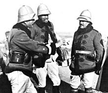 0793492bdd620 Senior Spanish officers wearing pith helmets and rayadillo breeches in  North Africa in 1912