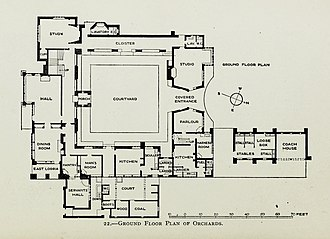 Ground floor plan of Orchards Lutyens houses and gardens (1921) (14783718963).jpg