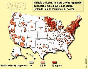 lyme desease, usa 2006, per county Français : ...
