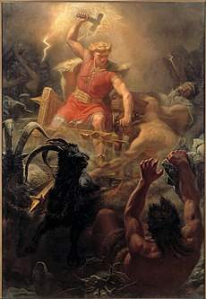 Thor raising his hammer in a battle against the giants