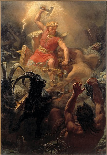 Painting depicting the Norse god Thunor (the Norse Thor), after whom Thursday is named, by Marten Eskil Winge, 1872 Marten Eskil Winge - Tor's Fight with the Giants - Google Art Project.jpg