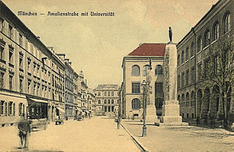 Ludwig Maximilian University of Munich - View of the University of Munich from Amalienstrasse around 1900