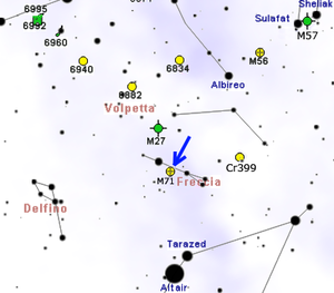 Messier 71 - Map showing location of M71