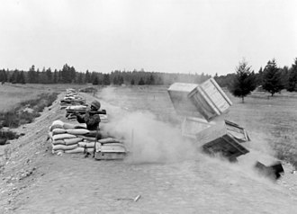 M72 LAW - Packing crates are used to demonstrate the danger of the M72 back blast