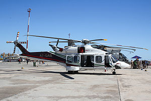 AgustaWestland AW189 - A Gulf Helicopters AW189 before delivery on display at 2015 Malta International Airshow.