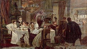 Marrano - Marranos: Secret Seder in Spain during the times of inquisition, an 1892 painting by Moshe Maimon