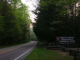 Main Entrance to the Great Smoky Mountains National Park from Gatlinburg, Tennessee.JPG