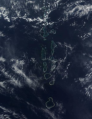 Atolls of the Maldives - Satellite Image of the Maldives by NASA. The southernmost Atoll of the Maldives, Addu Atoll, is not visible on the image.