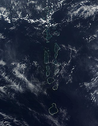 Atoll - NASA satellite image of some of the atolls of the Maldives, which consists of 1,322 islands arranged into 26 atolls
