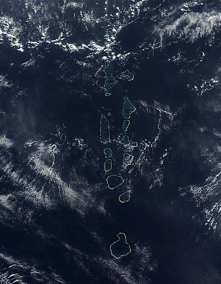 NASA satellite image of some of the atolls of the Maldives, which consists of 1,322 islands arranged into 26 atolls Maldives.visibleearth.nasa.jpg