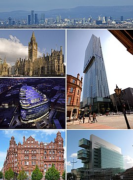 Clockwise from top: Manchester city centre as seen from a distance of approximately 12 miles (19.5 kilometres) in Alderley Edge, Beetham Tower, Manchester Civil Justice Centre, Midland Hotel, One Angel Square, Manchester Town Hall