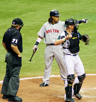 Manny Ramirez - Ramirez asking the first base umpire if he went around on a swing