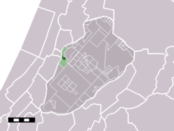 The village (darkgreen) and the statistical district (lightgreen) of Zwaanshoek in the municipality of Haarlemmermeer.