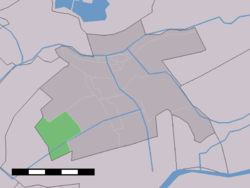 The village (dark green) and the statistical district (light green) of Benedenheul in the former municipality of Vlist.