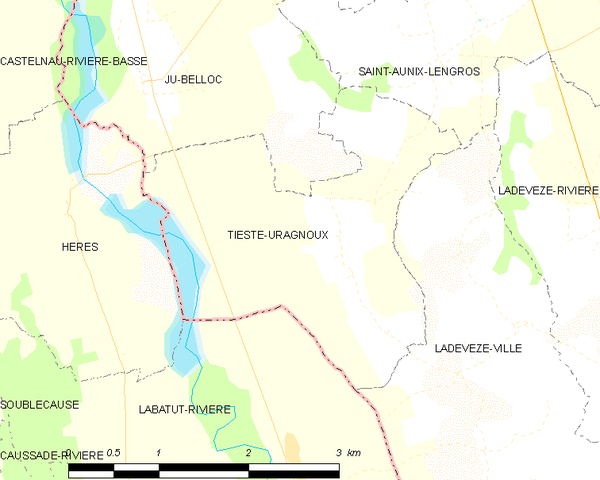 Tieste-Uragnoux and its surrounding communes Map commune FR insee code 32445.png