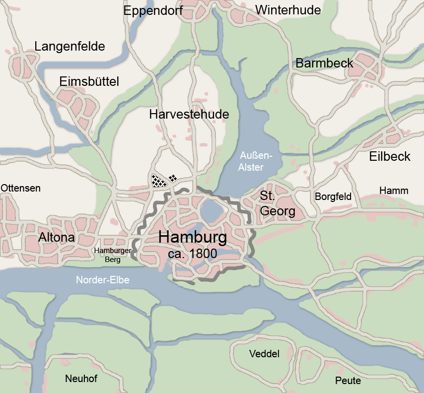 Map hamburg 1800