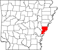 Map of Arkansas highlighting Phillips County