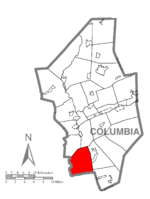 Map of Columbia County, Pennsylvania highlighting Cleveland Township