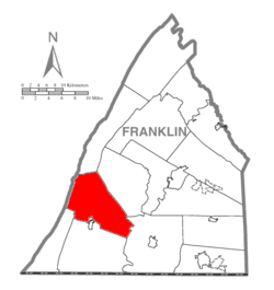 Map of Franklin County, Pennsylvania highlighting Peters Township