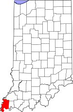 Map of Indiana highlighting Posey County.svg