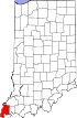 State map highlighting Posey County