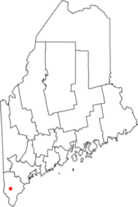 Location of town of Sanford in map of Maine