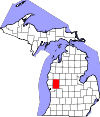 State map highlighting Newaygo County
