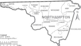 Northampton County, North Carolina - Map of Northampton County, North Carolina With Municipal and Township Labels