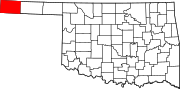 Map of Oklahoma highlighting Cimarron County.svg