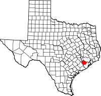 Map of Texas highlighting Fort Bend County