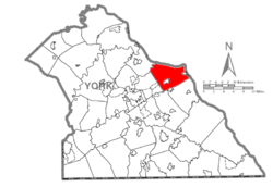 Map of York County, Pennsylvania highlighting Lower Windsor Township