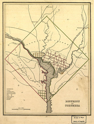 Washington, D.C. - Map of the District of Columbia in 1835, prior to the retrocession