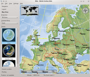 Marble (software) - Image: Marble Europe screenshot