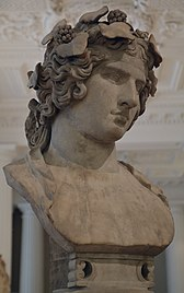 Marble bust of Antinous portrayed here as the reborn god Dionysus, known as Lansdowne Antinous, found at Hadrian's Villa in 1769, c. 130 - 138 AD, Fitzwilliam Museum, Cambridge (UK) (16704989622).jpg