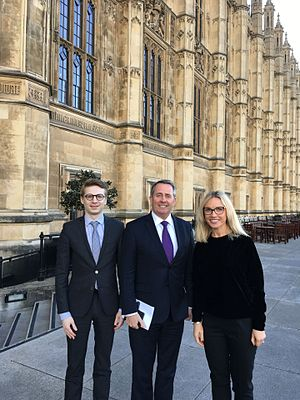Marcis Liors Skadmanis - Mārcis Liors Skadmanis with his colleague meeting Liam Fox PC, Secretary of State for International Trade, MP, House of Commons, Palace of Westminster, 2016.