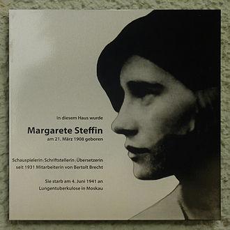 Margarete Steffin - Commemorative plaque at the birthplace of Margarete Steffin