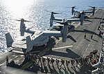 Marines board an MV-22 Osprey on the flight deck of the USS Makin Island. (28355648171).jpg
