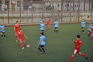Konak Belediyespor - Konak Belediyespor (red) at away match against Marmara Üniversitesi Spor (2013–14 season)