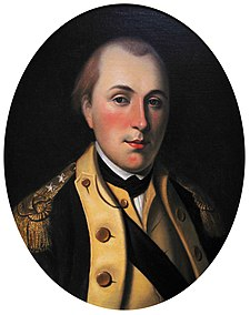 The young Marquis de Lafayette wears the uniform of a major general of the Continental Army. Painting by Charles Willson Peale Marquis de Lafayette 2.jpg