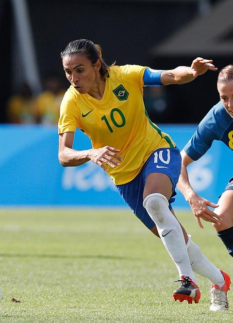 8c0a03c1c4 Marta atuando contra a Seleção Sueca na semifinal da Jogos Olímpicos de 2016
