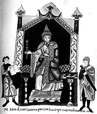 Matilda of Tuscany - Miniature of Matilda from the frontispiece of Donizo's Vita Mathildis (Codex Vat. Lat. 4922, fol. 7v.). Matilda is depicted seated. On her right, Donizo is presenting her with a copy of the Vita Mathildis, on her left is a man with a sword (possibly her man-at-arms). The script underneath reads: Mathildis lucens, precor hoc cape cara volumen (Resplendent Matilda, please accept this book, oh you dear one.)