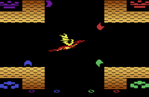 Atari 2600 homebrew - Screenshot of the Atari 2600 homebrew Medieval Mayhem by Darrell Spice Jr.