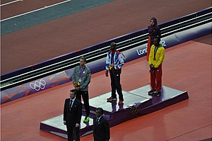 Athletics at the 2012 Summer Olympics – Men's 10,000 metres - Image: Mens 10000 m medal ceremony 2012 Olympics
