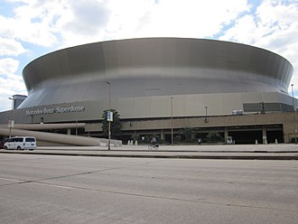 "Mercedes-Benz Superdome - The inscription ""Mercedes-Benz Superdome"" went on to the sides of the stadium in late October 2011"