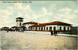 Union Station (Meridian, Mississippi) - Postcard of original Union Station