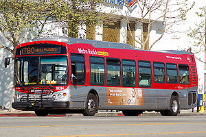 A NABI 45C-LFW bus on LACMTA Metro Rapid Route...
