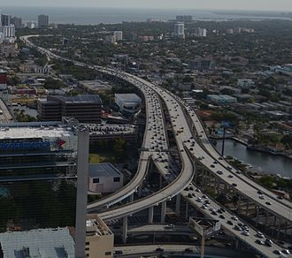 Interstate 95 in Florida - The southern terminus of Interstate 95 in Downtown Miami. In the background, the roadway lowers to surface level at which point it merges with US Highway 1.