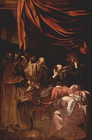 Death of the Virgin. 1601 - 1606. Oil on canvas, 396 x 245 cm. Louvre, Paris.